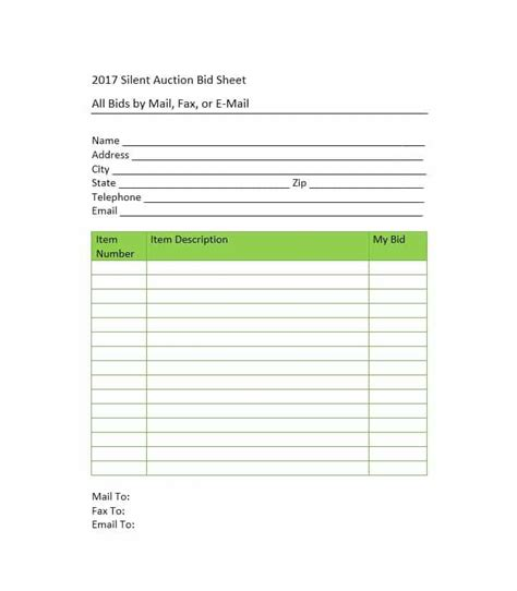 bid auction silent auction templates sogol co