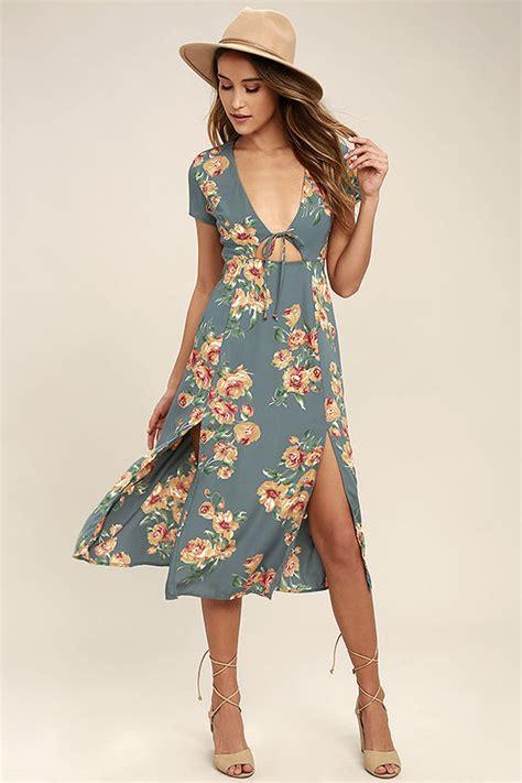 Dress Midi Flower 3 lovely dusty dress floral print dress midi dress 72 00