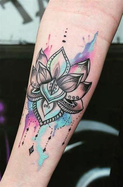 ladies wrist tattoo ideas watercolor lotus flower wrist ideas for at