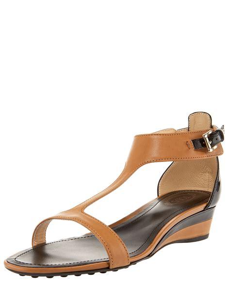 t wedge sandal tod s t low wedge sandal in brown lyst