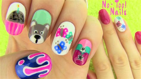 easy christmas nail art without tools nails without nail art tools 5 nail art designs youtube