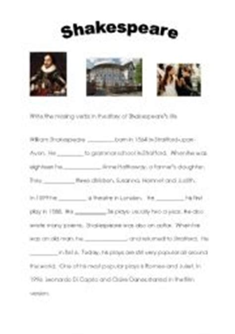 william shakespeare biography in simple english english worksheets simple past worksheets page 293
