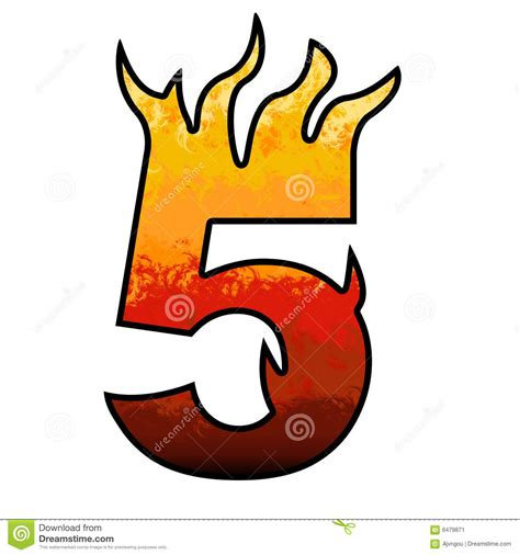 In Flames 5 flames alphabet number 5 five stock image image 6479871