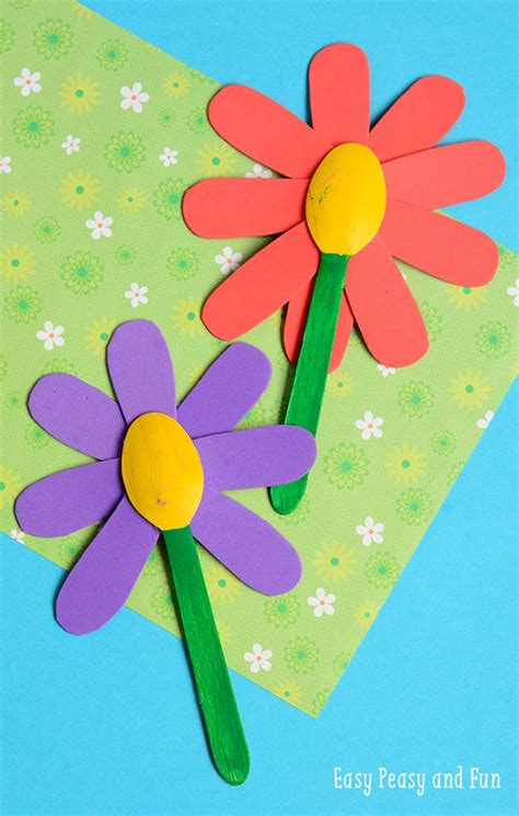 Floral Craft Paper - wooden spoon flower craft easy peasy and