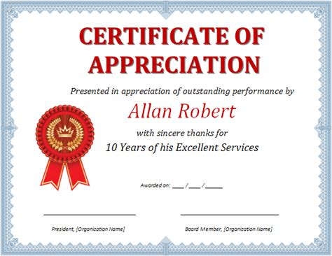 microsoft word certificate of appreciation template ms word certificate of appreciation office templates