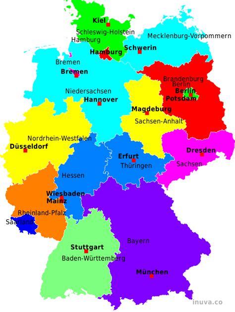 karta deutschland deutschland bundesl 228 nder mit hauptstadt karte
