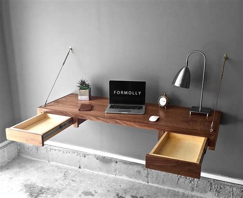floating desk with walnut floating desk with storage by formolly formolly