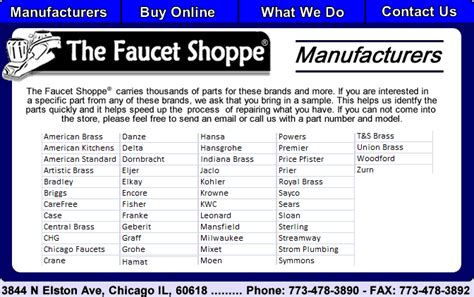 the faucet shoppe manufacurers we carry