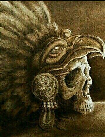 skull in headdress priest aztec on shoulder aztec eagle warrior skull skull aztec