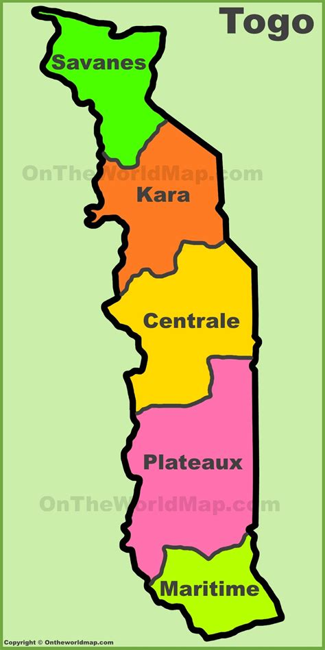 map of togo in africa administrative divisions map of togo