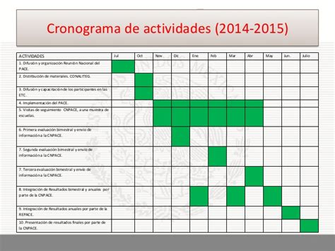 cronograma de actividades 2015 ii proyecto pace