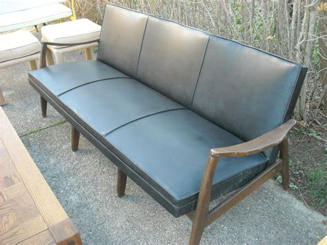 60s couch vintage retro black leather danish modern sofa eames