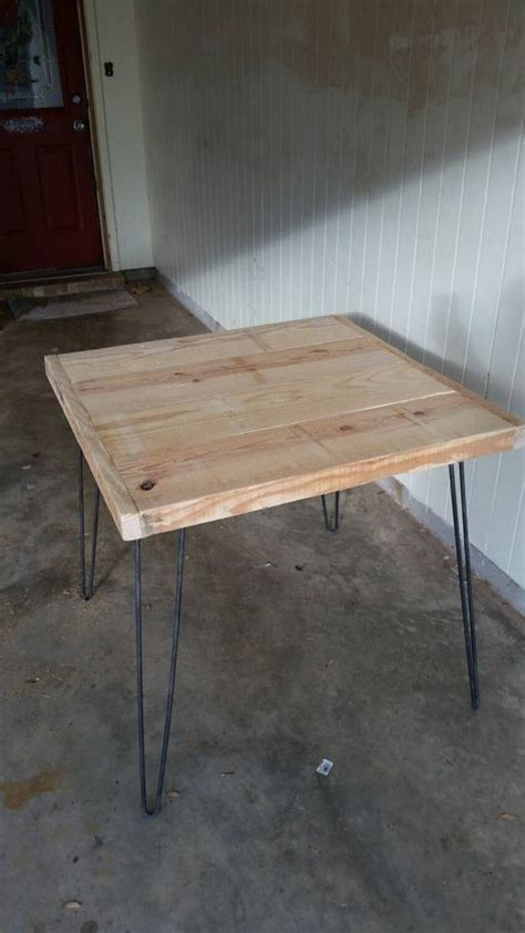 rough cut bar tops rough sawn table 2 quot thick top 32 quot square hairpin free