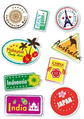 Kofferaufkleber Basteln by World Travel Locations Suitcase Stickers Set Of 9