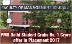 Fms Delhi Part Time Mba 2017 by Fms Delhi Student Grabs Rs 1 Crore Offer In Placement