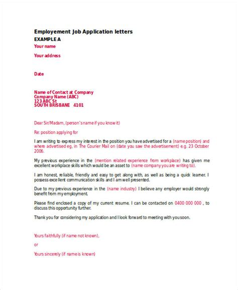 copies of cover letters for employment 52 application letter exles sles pdf doc
