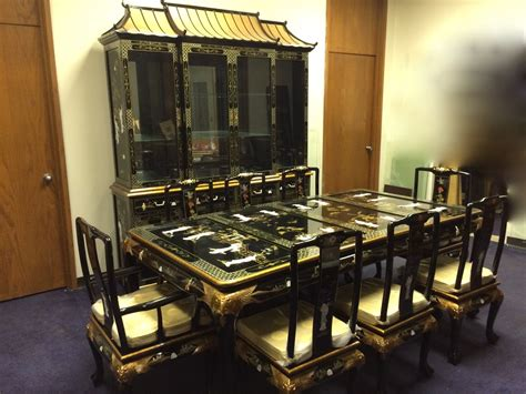 oriental dining set  china cabinet