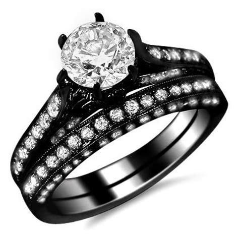 14k black gold six prong engagement ring bridal set
