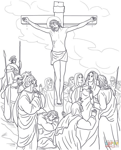 twelfth station jesus dies on the cross coloring page