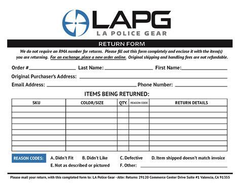 Simple Easy Returns Return Exchange Form Template