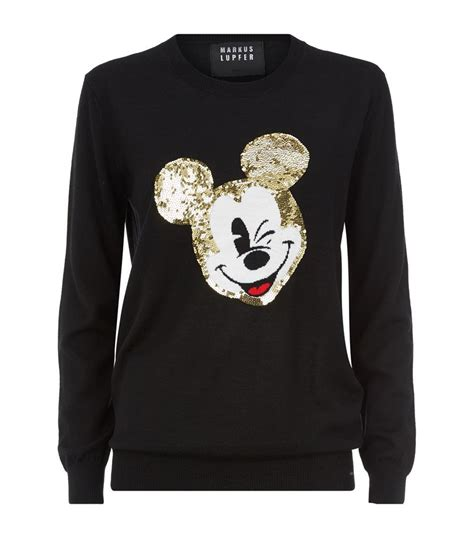 Sweater Mickey Mouse markus lupfer vintage mickey mouse sequin sweater in black