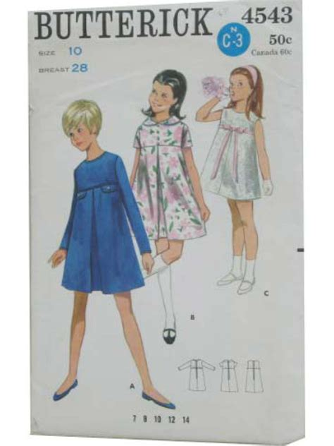 girls knot dress sewing pattern and a line top shirt 1960 s sewing pattern butterick pattern no 4543 60s