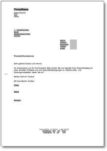 Gesch Ftlich Briefvorlage gesch 228 ftliche anfrage nach produktinformationen de