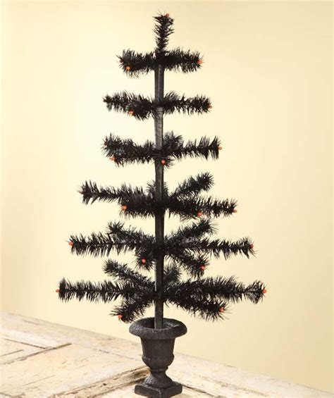 black feather tree in urn bethany lowe halloween tree