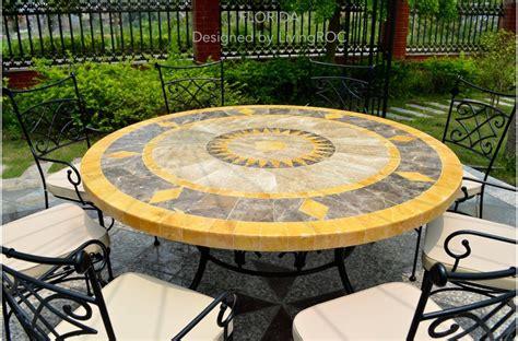 "49"" Outdoor & Patio Garden Round Table Mosaic Marble Stone"