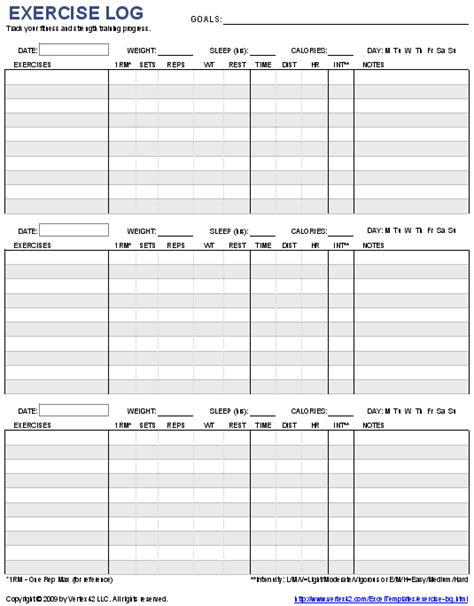 workout template spreadsheet free printable exercise log and blank exercise log template