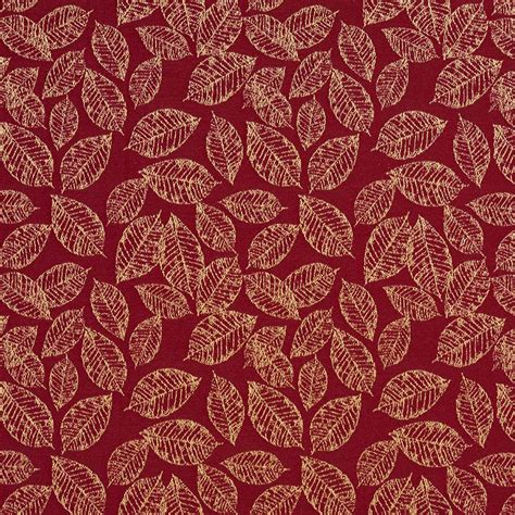 upholstery fabric shop red floral leaf jacquard woven upholstery fabric by the yard