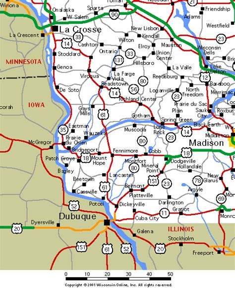 driving map of wisconsin wisconsin maps southwest wisconsin roads and highways