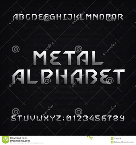 design font metal chrome alphabet vector font modern metallic letters and