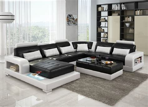 white and black sectional divani casa 6145 modern black and white leather sectional sofa