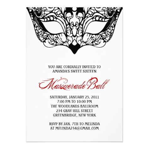 masquerade invitation template white masquerade invitations 5 quot x 7 quot invitation card zazzle
