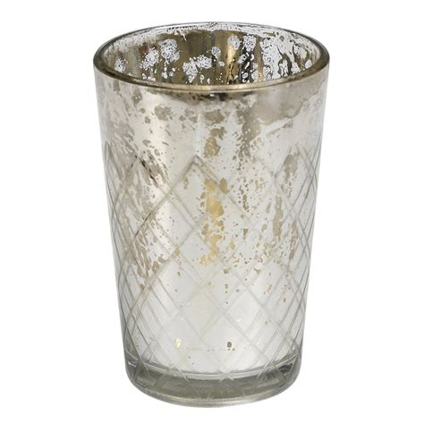 dotcomgiftshop engraved silver glass tea light candle
