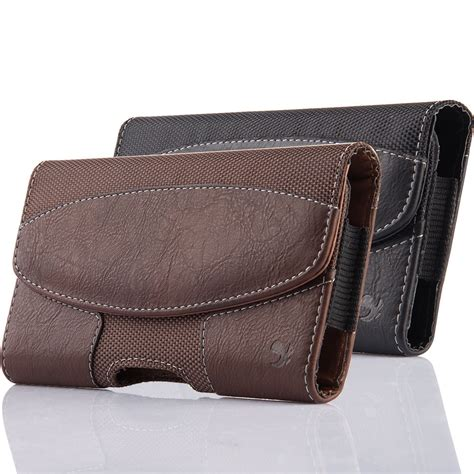Leather Iphone Samsung leather holster belt clip carrying horizontal pouch