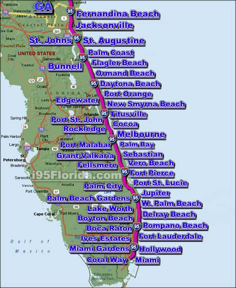 map of florida east coast map of central florida east coast beaches