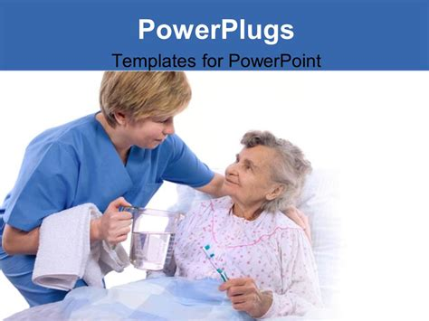 ppt themes nursing powerpoint template nurse helping an old women at