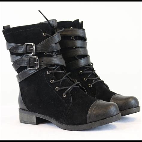 bamboo shoes black laced suede combat boots