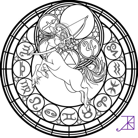 Astrology Coloring Pages zodiac sagittarius stained glass coloring page by akili