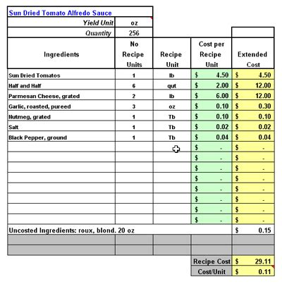 food cost spreadsheet template restaurant software recipe costing inventory menu
