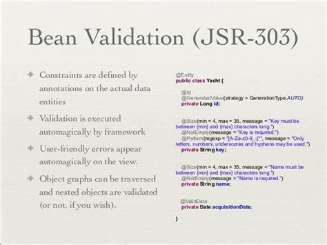 bean validation pattern list spring mvc intro gore nov nhjug