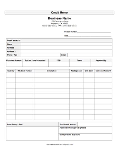 Credit Note Request Form Template Credit Memo Template