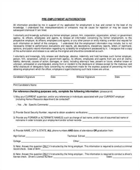 Pre Employment Background Check Authorization Form Authorization Form Templates