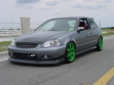 grey honda civic honda civic ek grey volk te37 takata green rides styling