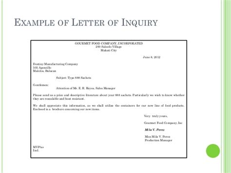Inquiry Letter To An Accounting Firm Business Letters