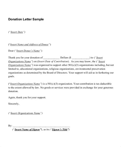 letter template for a in donation receipt 8 donation receipt sles sle templates