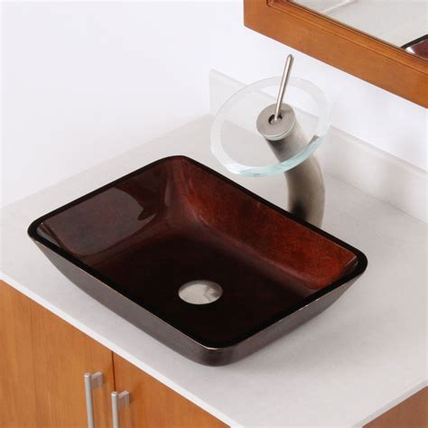 rectangular clear glass vessel sinks elite 1407 rectangle artistic bronze tempered glass vessel