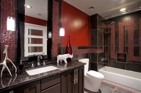 black white and red bathroom decorating ideas black granite countertop and italian porcelain tiles